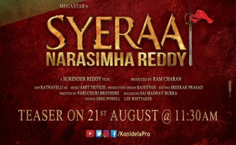 SyeRaaNarasimhaReddy Teaser On Aug21st At 11.30AM