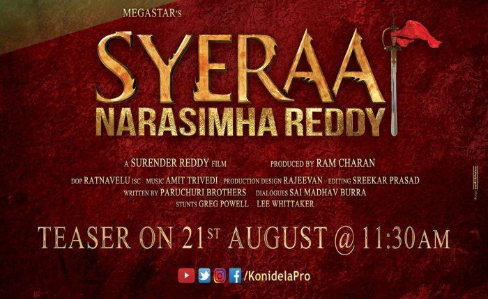 SyeRaaNarasimhaReddy Teaser On Aug21st At 11.30AM