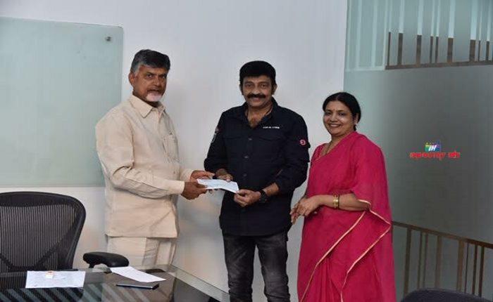 Dr. Rajasekhar & Jeevitha Rajasekhar have contributed Rs 10 lakh towards Cyclone Titli in Srikakulam