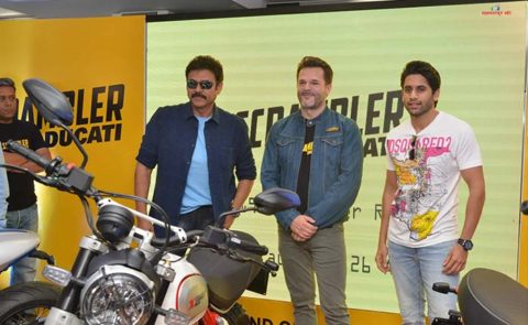 Venkatesh, Naga Chaitanya Opened 'Ducati' Showroom Launches Scrambler Range Bikes – Pics