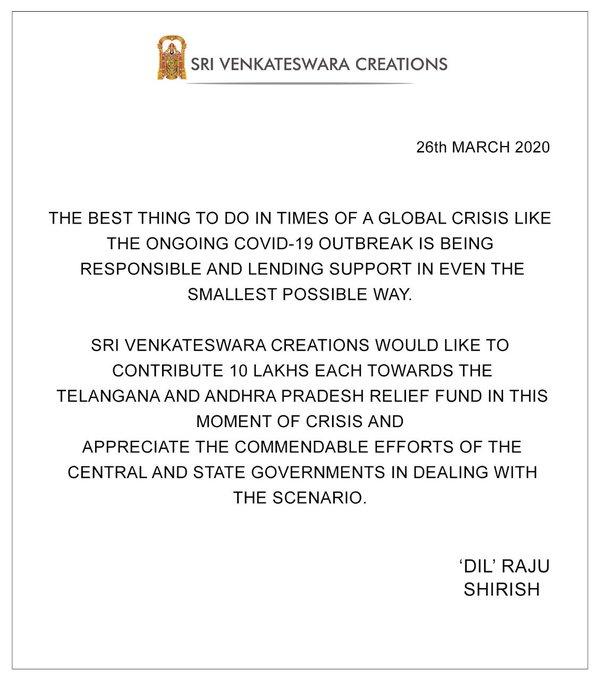 Sri venkateswara Creations Donates 10 Lakhs