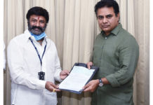 Balakrishna Met KTR and handed over cheque of 50 Lakhs