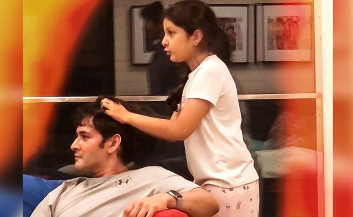Mahesh Gets Head Massage From Sitara Papa