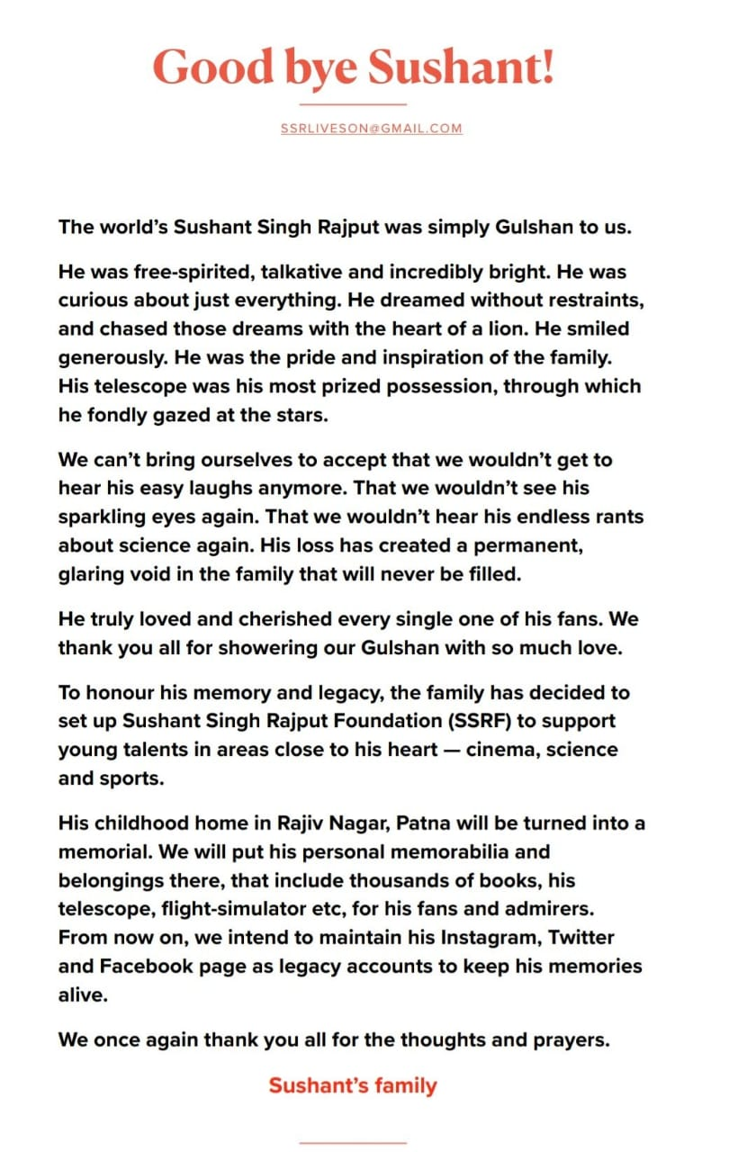 Sushanth Singh's Family To Setup A Foundation